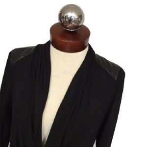 Saks Fifth Avenue faux leather shoulder draped top